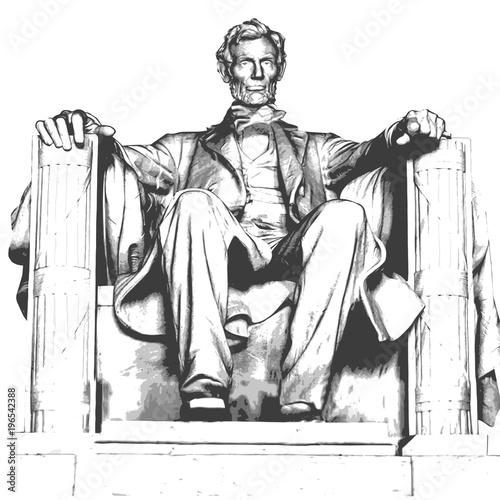 Fotografiet Lincoln - mémorial - Abraham Lincoln - monument - statue - symbole - Capitole -