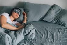 Woman Sleep In Eye Patch In Gr...