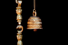 Bronze Hindu Holy Bell Against...