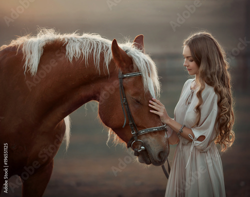 Photo  girl with horse at sunset