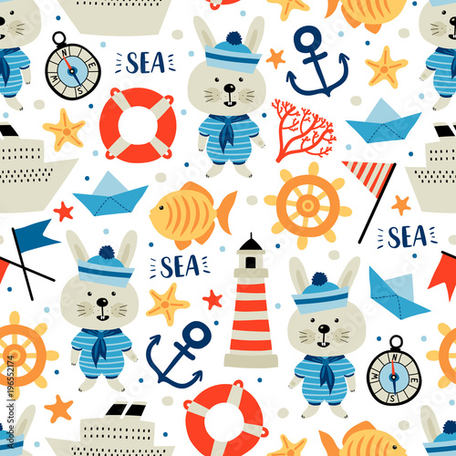 Seamless pattern with nautical elements and rabbit. Cartoon style. Can be used on packaging paper, fabric, background for different images, etc.
