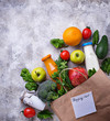Healthy organic products with paper bag