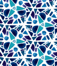 Mosaic Pattern With Watercolor Painted Tiles. Geometry Triangle Texture, Violet And Blue Colors.