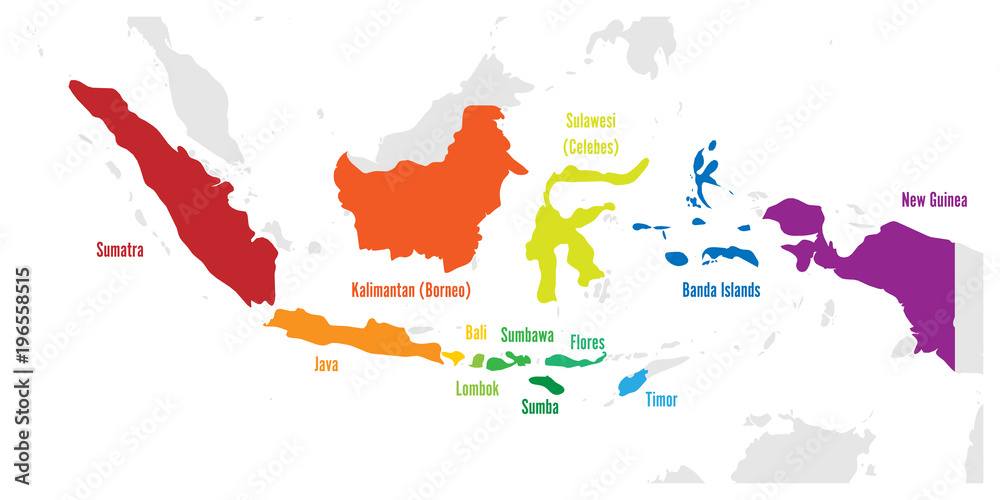 Fototapeta Main islands of Indonesia. Vector map with names.