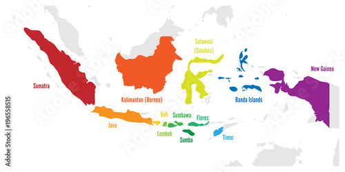 Cuadros en Lienzo Main islands of Indonesia. Vector map with names.