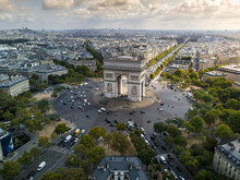Lower Aerial View Of The Arc De Triomphe