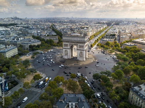 Lower Aerial View of the Arc De Triomphe - 196564997