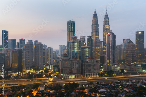 Fototapety, obrazy: Kuala Lumpur skyline and skyscraper with highway road at night in Kuala Lumpur, Malaysia. Asia.