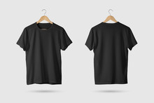 Black T-Shirt Mock-up On Woode...