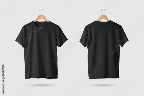 Fotomural  Black T-Shirt Mock-up on wooden hanger, front and rear side view