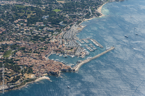 Valokuva Aerial image of Saint-Tropez, port and vieux port at the Mediterranean sea