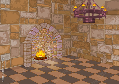 Spoed Foto op Canvas Sprookjeswereld Castle Hall and Fireplace