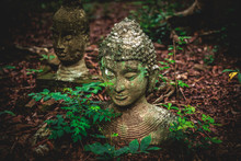 Old Statue Of Buddha On Ground With Leave At Umong Temple, Chiangmai Thailand.