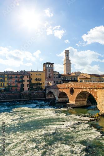 Poster Artistique Ponte Pietra bridge on Adige river