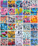 Fototapeta Młodzieżowe - A set of many small fragments of graffiti drawings. Street art abstract background collage