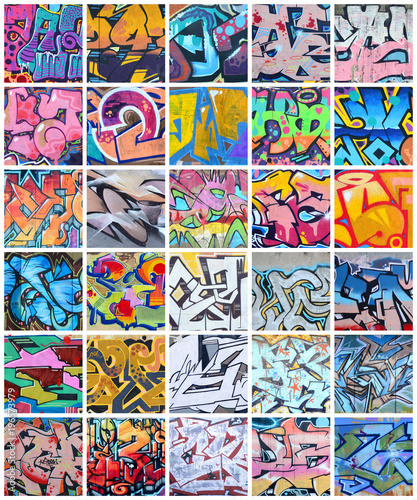 plakat A set of many small fragments of graffiti drawings. Street art abstract background collage