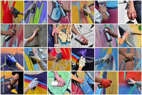 Foto op Aluminium Graffiti A set of many small images of hands with paint cans in the process of drawing graffiti. Street art abstract background collage