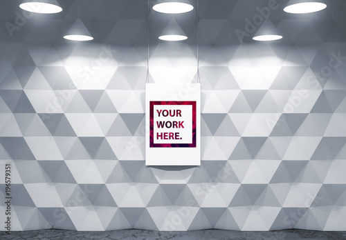 Poster Mockup with Pendant Lamps and Polygon Textured Background