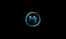Letter MJ Blue Circle Modern Logo