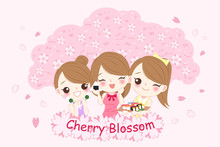 Girl With Chery Blossom