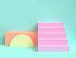 Leinwanddruck Bild - minimal green scene geometric shape staircase 3d rendering