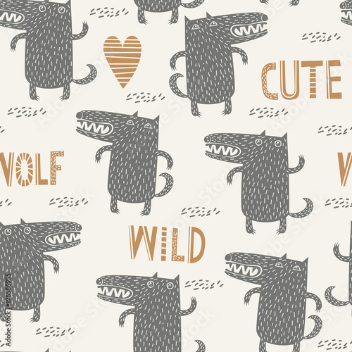 Seamless childish pattern with cute wolf Wallpaper Mural
