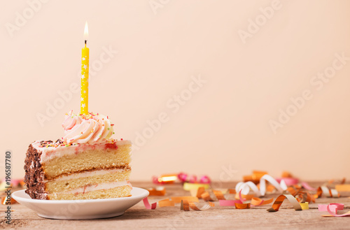 piece of cake on a wooden table Canvas Print