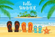 Family Flip-flops On The Beach