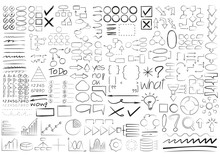 Big Collection Of Hand Draw Marker Elements, Check Marks, Arrows, Highlighter, Diagram, Underlines, Speech Bubble, Grade Results, Process Templates