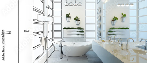 Fotomural Contemporary Bathroom Project (panoramic)