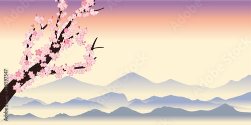 Fototapety, obrazy: 桜の木の背景~春のイメージの背景(夕方)|飾り枠|サクラと風景イラスト 背景