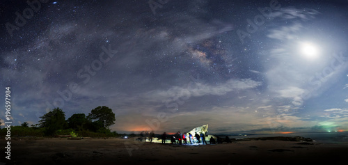 Plakat panorama galaktyki Drogi Mlecznej podczas pochmurne niebo ciemne. obraz zawiera nieostrość, rozmycie i szum z powodu długiej ekspozycji i wysokiego iso.