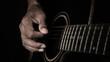 Super slow motion man playing guitar in dark tone