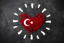 Heart With Sun Rays And Flag Of Turkey On A Dark Background. Theme Of Rest And Travel 1