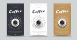 Design packaging for coffee with drawings by hand and a cup of coffee top view.