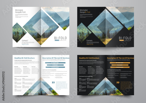 Template of the bi-fold brochure with rhombuses and triangles for the photo Canvas-taulu