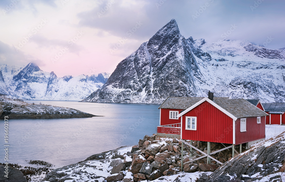 Fototapety, obrazy: Beautiful sunrise landscape with traditional Norwegian fishing huts in the Lofoten islands, Norway