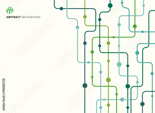 Fototapeta Abstract technology background green color curved lines, dots with copy space