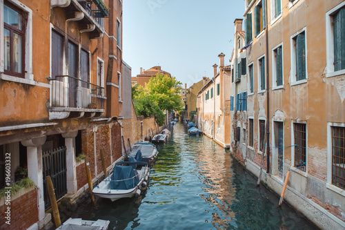 Fotobehang Kanaal Venice, beautiful romantic italian city on sea with great canal and gondolas. View of venetian narrow canal. Venice is a popular tourist destination of Europe.