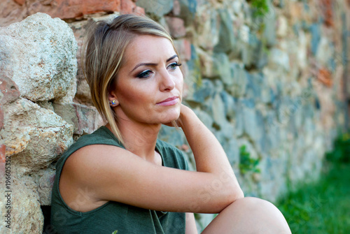 Portrait of a sad, moody blonde woman Canvas Print