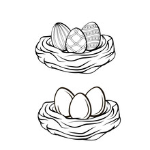 Hand Drawn  Illustration. Happy Easter Spring Nest With Bird Eggs.