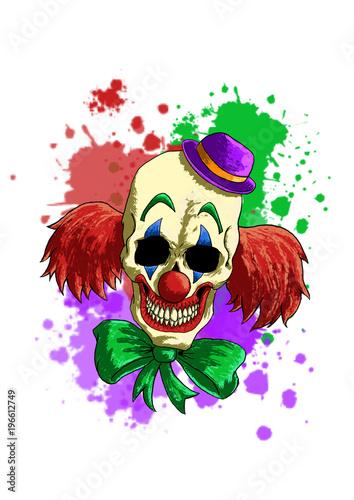 Printed kitchen splashbacks Laughing Clown Skull Line Art