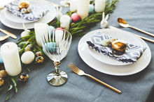 Easter Decorated Table With Eg...