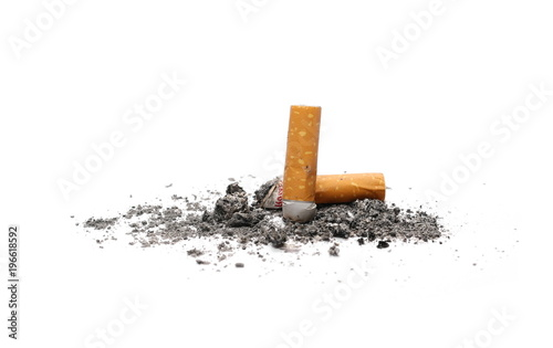 Vászonkép  Cigarette butts, stubs isolated on white background