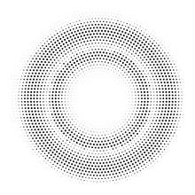 Halftone Double Circle Frame. Vector Template