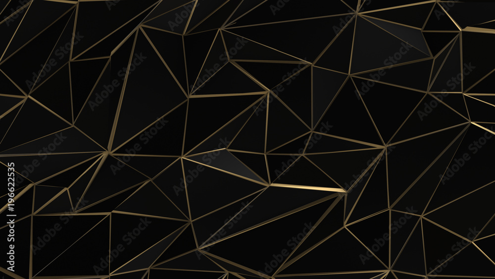 Fototapety, obrazy: Black and gold abstract low poly triangle background
