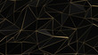 Leinwanddruck Bild - Black and gold abstract low poly triangle background