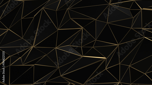 Black and gold abstract low poly triangle background