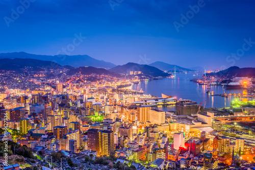 In de dag Havana Nagasaki, Japan Downtown Skyline