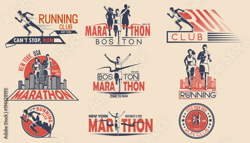 Foto  Set of design of logos, badges for running tournament, sports team, marathon